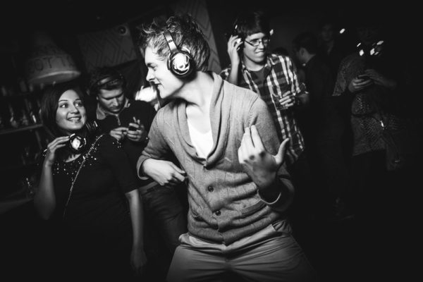 Тихая дискотека в центре Москвы